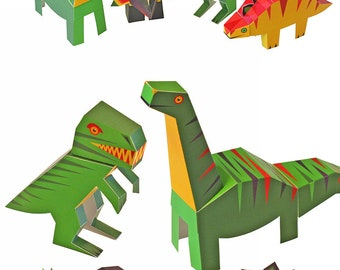 Dinosaurs Paper Toys - DIY Paper Craft Kit - 4 Dinosaurs - 3D Models Paper Figures - Christmas Toy