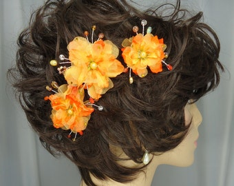 Orange Yellow Hair Pins, Delphinium Hair Pins, 3 Hair Pins, Wedding Accessories, REX15-220