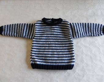 sweater with blue and white stripes 12 months