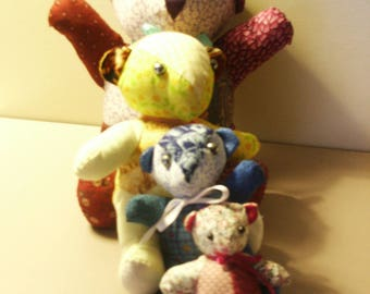 multicolored cotton patchwork bear