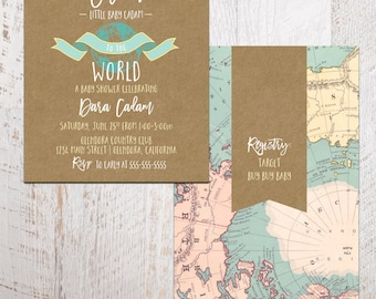 Baby Shower Invitation - Welcome to the World Baby Shower Invitation - Printable 5x7 shower invite - world baby shower (baby shower no. 03d)
