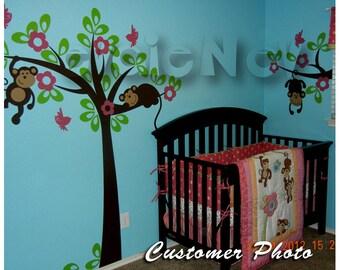 Jungle Safari Wall Decals - Monkeys on the Tree Nursery Theme - ON SALE - PLSF020L