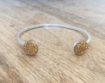 Dazzling double gold druzy cuff