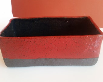 Japanese Style Red & Black Glazed Ceramic Ikebana Container. Slab-built BRT pottery vessel including FREE SHIPPING