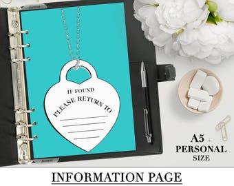 Information page Printable for your Personal and A5 planner_light blue color_Info sheet_dashboard filofax