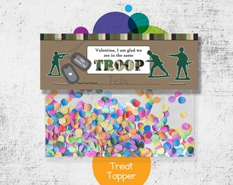 INSTANT DOWNLOAD -Digital File - Army Men Valentine Treat Bag Topper- Printable