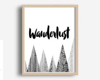 Wanderlust, Prinntable Art, Travel Poster,Travel Decor, Typography Print, Home Decor, Motivational Print, Instant Download