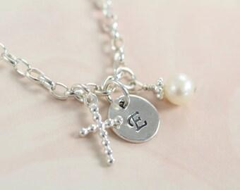 Baptism Gift Bracelet for Girls Religious Jewelry - Initial Cross Pendant Bracelet 925 Sterling Silver