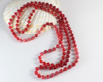 1960s Long Small Round Smooth Cherry Color Beads Beaded Plastic Bead Necklace
