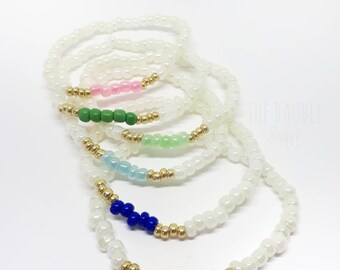 Colour Block, Stack, Bracelet, Beaded, Stackable, Seed Bead, Children's Jewellery, Gift, Valentine's Day, Birthday, Favour,