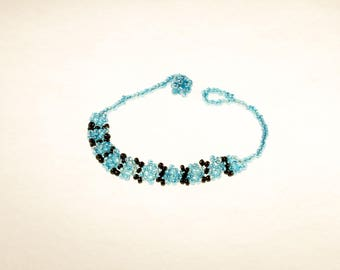 Blue and Black Bead Bracelet