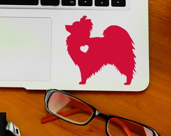 Papillon w/ Heart Car Laptop Vinyl Decal Sticker