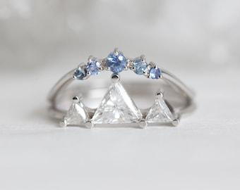 Mountain Engagement Ring Set, Mountain Ring, Alternative Ring Set, Alternative Bridal Set, Triangle diamond Ring, Three Diamond Ring