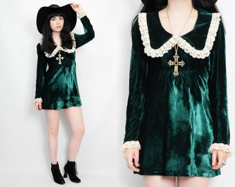 Vtg 60s 70s Emerald Velvet Lace Peter Pan Collar Mod Babydoll Goth Mini Dress XS