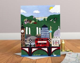 London Greeting Card - London Skyline Card - Kids Card - London Card - London Art - London Illustration