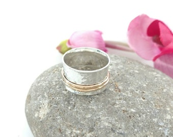 Spinning Meditation Ring - 14 K Gold Fill and Sterling Silver - Wide Fidget Band with 2 Spinners - Anxiety Stress Relief Gift