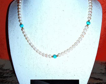 Cultured pearls and Turquoise necklace