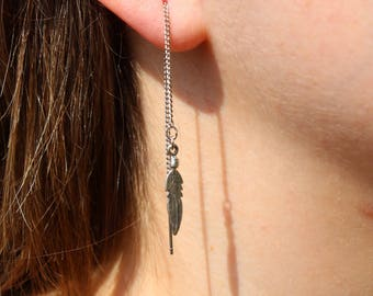 Sterling Silver Rhodium Coated Feathers Threader Earrings