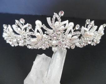 Freshwater Pearl and Rhinestone Bridal Tiara,Rhinestone & Freshwater Pearl Wedding Headpiece,Bridal Crown, Wedding Tiara, Bridal Accessory,