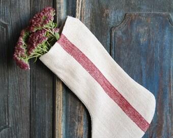 D 247: handmade, linen, antique, charming, CHRISTMAS STOCKING, vintage ,리넨, decoration;