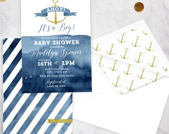 Nautical Baby Shower, Gold Anchor Baby Shower, Boy Shower Invitation, Watercolor Shower Invite, Lined Envelope