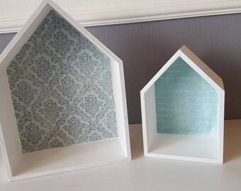 2 Houses-Shelves ~ White-Turquoise ~