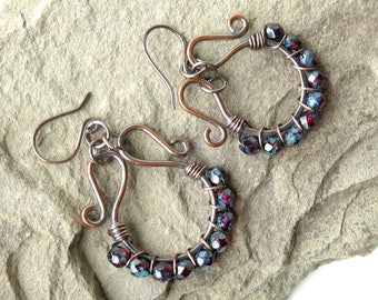 Red beaded hoop earrings copper wrapped faceted Czech glass beads