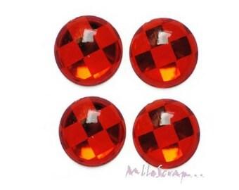 Set of 5 large rhinestones red checkerboard craft scrapbooking embellishment *.