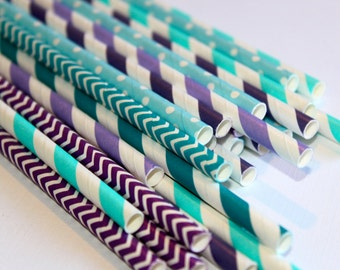 24 mermaid under the sea purple teal chevron polka dot dotted graduation striped stripes paper straw first birthday party bridal baby shower