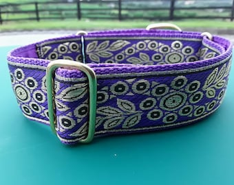 "Purple & Gold Foil 1 1/2"" Martingale Collar"