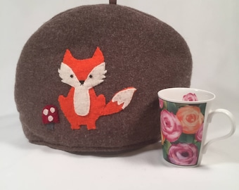 Tea Cozy made from Felted Wool, Orange Fox, Tan Wool, Handmade, Upcycled