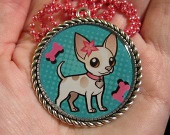 Chihuahua Necklace-Chihuahua Dog Jewelry-Handmade Resin Pendant Jewelry