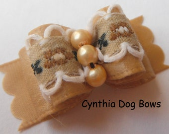 Dog Bow 5/8-  Beige Floral Moonstitch Ribbon with Pearl Center