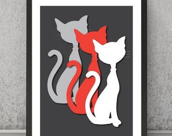 Cats contemporary print, Cats contemporary poster, Cats minimalist print, Cats minimalist poster, Cats wall decor, Cats wall art, Cats art