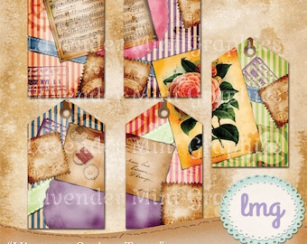 "Digital Junk Journal Tags - ""Vintage Stripes"" - Scrapbooking, Elements, Hang Tags, Journal Spots, Printables, Shabby, Instant Download, CU"
