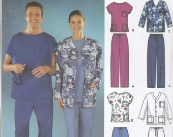 Free Us Ship Simplicity 5441 Uniform Medical Scrubs Top Pocket Pants Dr Nurse Doctor Hospital Size XS-M Chest 30 32 34 36 38 40 New