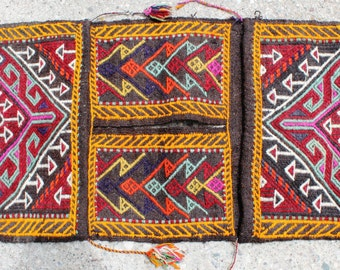 Vintage Handwoven Handmade Antique Wall Decor Kilim Saddlebag - 17,2''x39,6'' inch %100 WOOL - FAST SHIPMENT -
