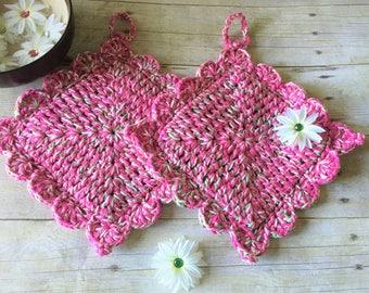 Kitchen Pot Holders, Pink Potholder, Kitchen Decor, Crochet Hot Pad, Pot Holder Set, Hostess Gift, Gift for her, Hot Pad, Cotton Potholders