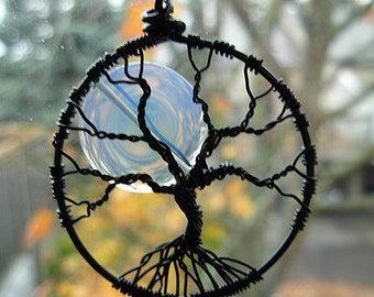 Full Moon winter Tree of Life Pendant with Opalite moon