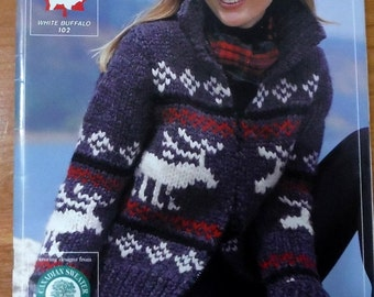 COWICHAN  Sweater Knitting Pattern Reindeer knitting supplies from Raincoaststudio on Etsy