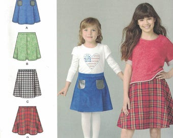 Simplicity 1290 Girls Skirt Pattern in 4 Variations SIze 7,8,10,12,14 UNCUT