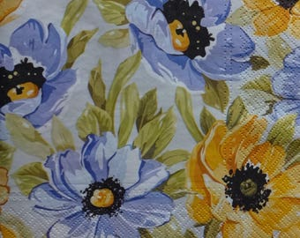 4 Blue and Yellow Napkins, Floral Napkins, Summer Party Napkins, Lunch Napkins, Flower Napkins, Decoupage Napkins, Collage Paper
