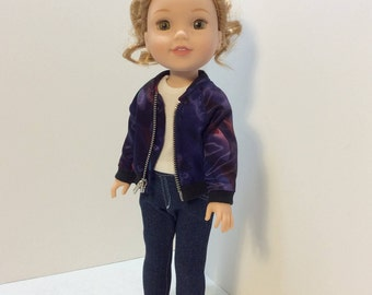 Aviator Jacket, T-Shirt and Skinny Jeans, Wellie Wisher Doll Clothing, 14-14.5 Inch Doll Clothing, Made To Fit Wellie Wishers, Hearts4Hearts