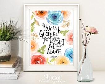 Printable Wall Art digital download Scripture Bible verse artwork, James 1:17, for home and office decor, downloadable print, ArtCult design