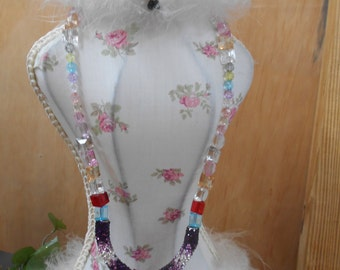 Pretty in crystal type glass beads and who should dress it all up but a ceramic owl