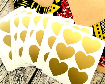 Large Gold heart, Wedding invitation seal, Gold heart seal, Heart shaped sticker, Gold sticker, Gold wedding seal, pick your colour #1016