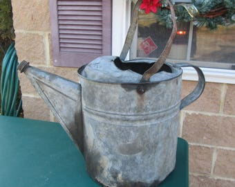 Large Galvanized Watering Can, No. 16 Watering Can, Vintage Watering Can, Rustic and Primitive Decor