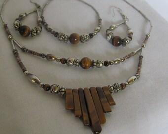 ON SALE Bohemian Sterling Silver Jewelry set 3pc Set Tigers Eye Sterling Silver Necklace Double Strand Rosettes Tigerseye Earrings  Bracelet