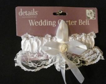 Wedding Garter White Lace Ribbon & Rosette Bridal Accessory SM