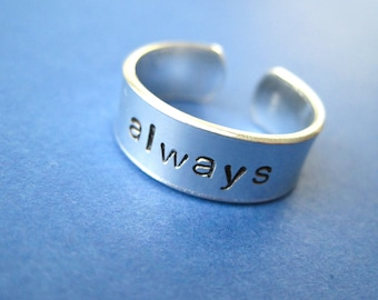 Always Ring - Personalized Hand Stamped Ring - Skinny 1/4 Band